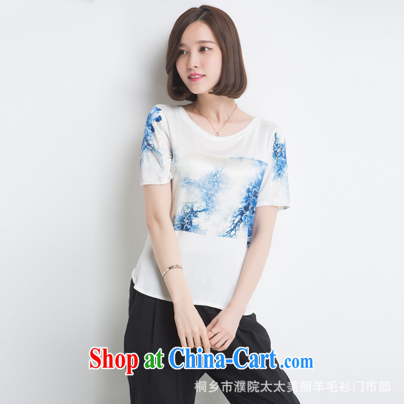 Ya-ting store 2015 summer new ethnic wind short-sleeve silk T shirt loose the code t-shirt girl ink XL