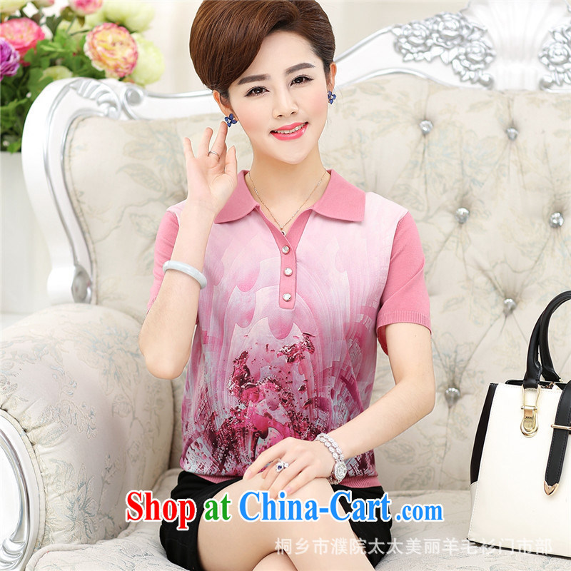 Ya-ting store 2015 middle-aged and older female sauna silk T-shirt summer New Silk shirt large, middle-aged mother with short-sleeve girls pink XXL