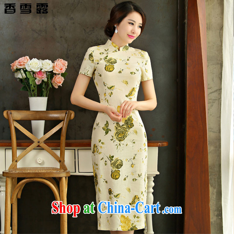Fragrant snow terrace summer 2015 new retro beauty graphics thin short sleeves in the Code improved linen long cheongsam dress X 007 Huangmei XXL