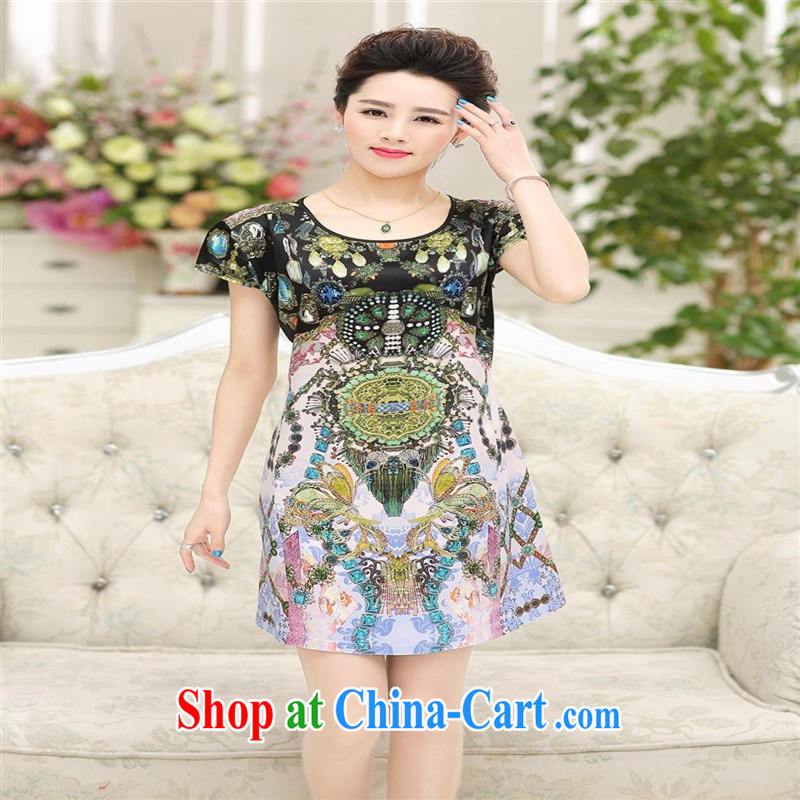 Ya-ting store 2015 summer new, older female Korean short-sleeved sauna silk mother loaded the code dress red 4 XL, blue rain bow, and, on-line shopping