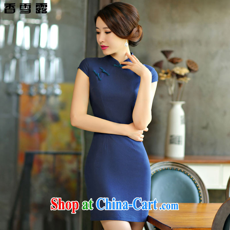 Fragrant snow terrace summer 2015 New Solid Color simplicity of Korea arts wind cultivating improved Chinese Dress X 008 dark blue XXL