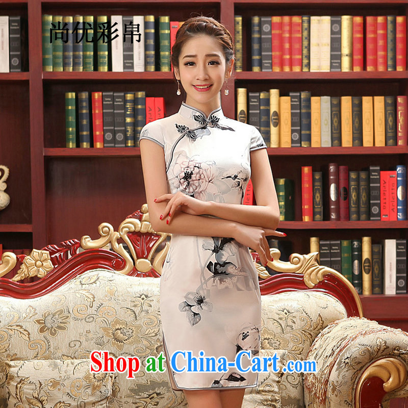 It is also optimized their swords into plowshares, cultivating cheongsam dress Stylish retro Ethnic Wind dresses qipao qy 1512 photo color XXL
