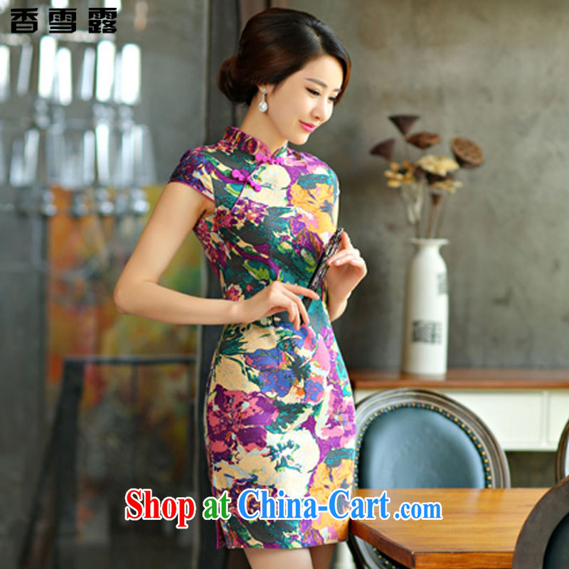 Fragrant snow terrace summer 2015 new cheongsam dress summer basket stamp duty the retro improved cultivation short daily outfit 009 X XXL suit