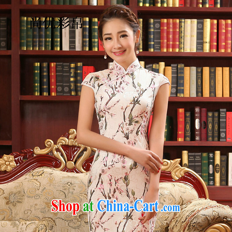There are optimized color into plowshares 2015 new female summer daily improved cheongsam dress with skirt dress short-sleeved beauty retro style qy 1513 photo color XXL
