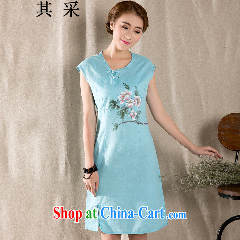 The unit 2015 arts retro new cotton Ma hand-painted cotton the cheongsam dress blue XL