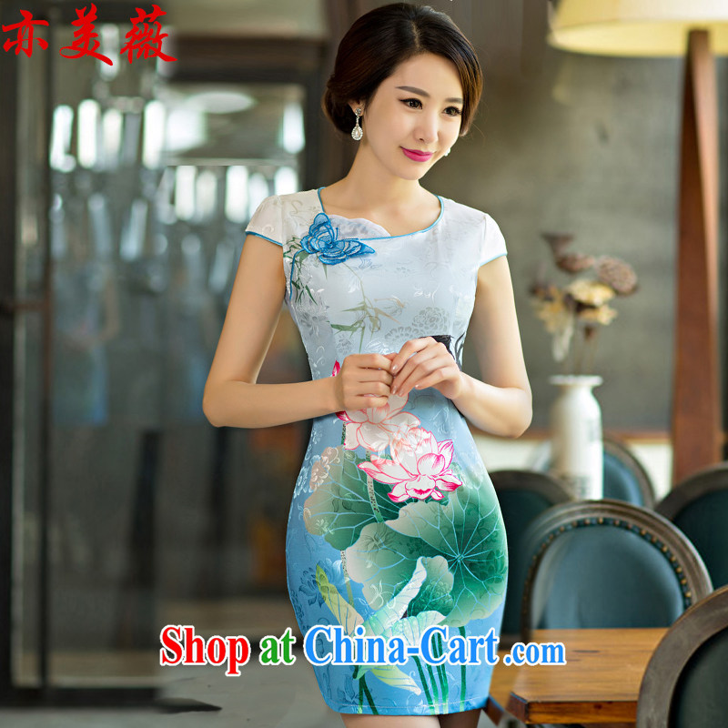 Also the US Ms Audrey EU 2015 new summer standard attire dresses Lotus the gradient improved fashion cheongsam LAN XL