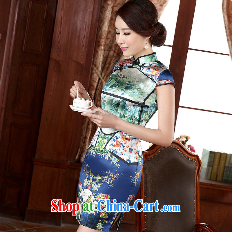 Jessica covers 2015 spring and summer with new dresses retro improved stylish, everyday beauty short Q 1083 blue XXXL