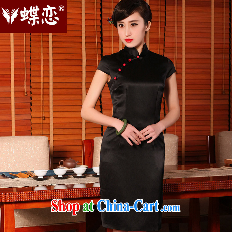 Butterfly Lovers 2015 spring and summer new retro Silk Cheongsam dress stylish and improved daily short-sleeved dresses Black - pre-sale 7 days XXL
