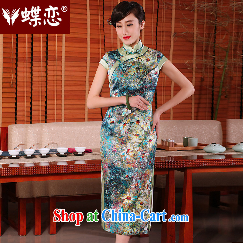 Butterfly Lovers 2015 spring and summer new daily retro long cheongsam dress stylish improved Silk Cheongsam AS SHOWN - pre-sale 25 days XXL