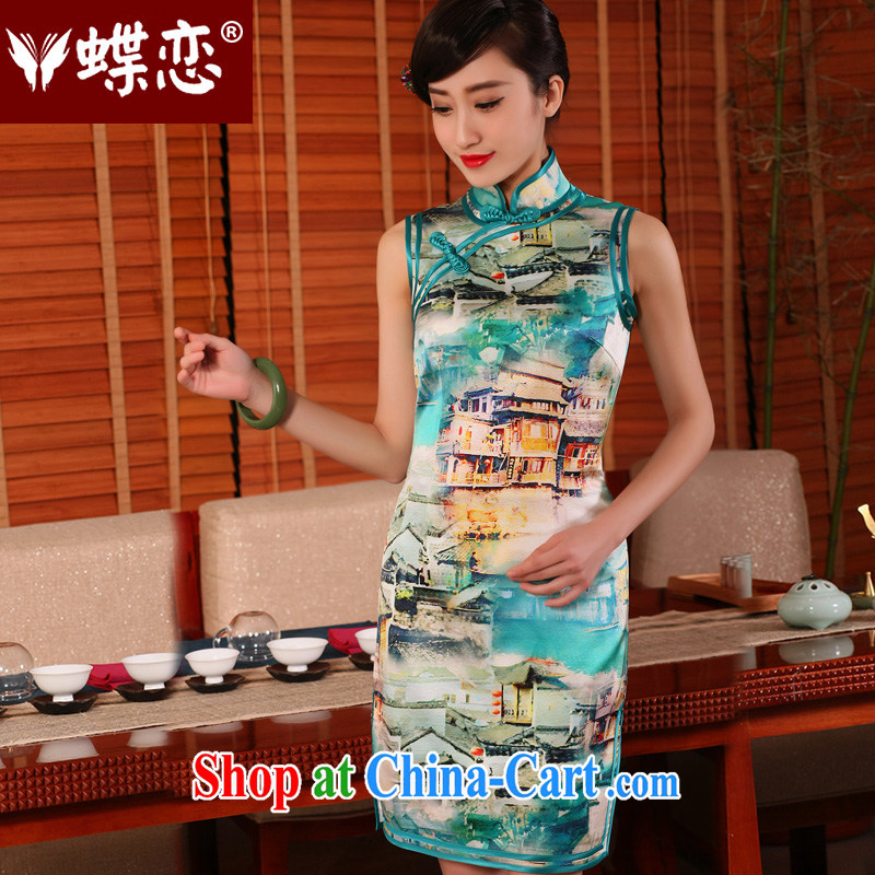 Butterfly Lovers 2015 spring and summer new stylish improved short cheongsam dress retro daily Silk Cheongsam 10,000 Lights - pre-sale 10 days XXL