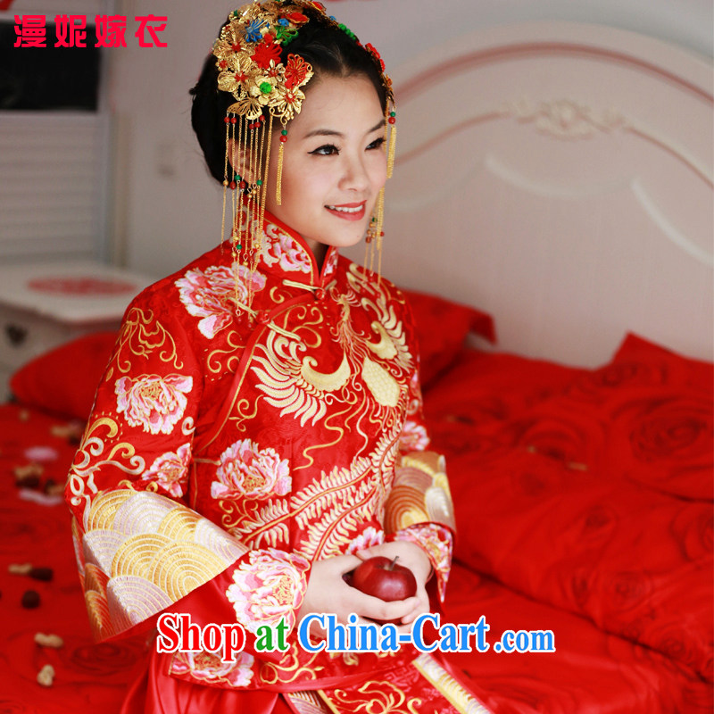 man she married Yi Chinese dragon and Sau Wo service new spring and summer bridal wedding dresses antique toast service-soo and red embroidery Chinese qipao wedding costumes red XL