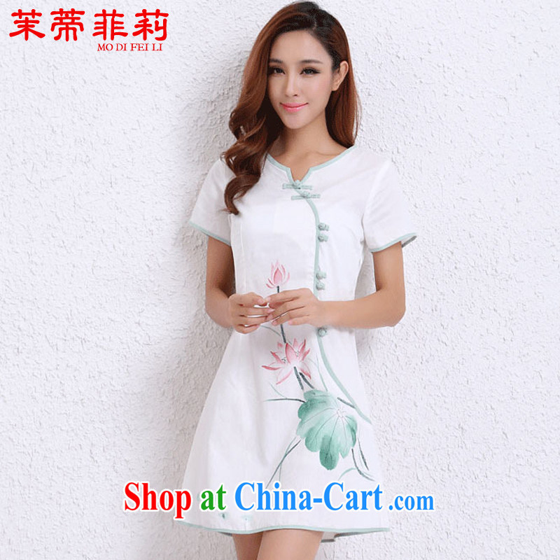 Energy Mr. Philip Li 2015 summer new improved Han-ethnic wind cotton Ma hand-painted cheongsam dress girls white XXL
