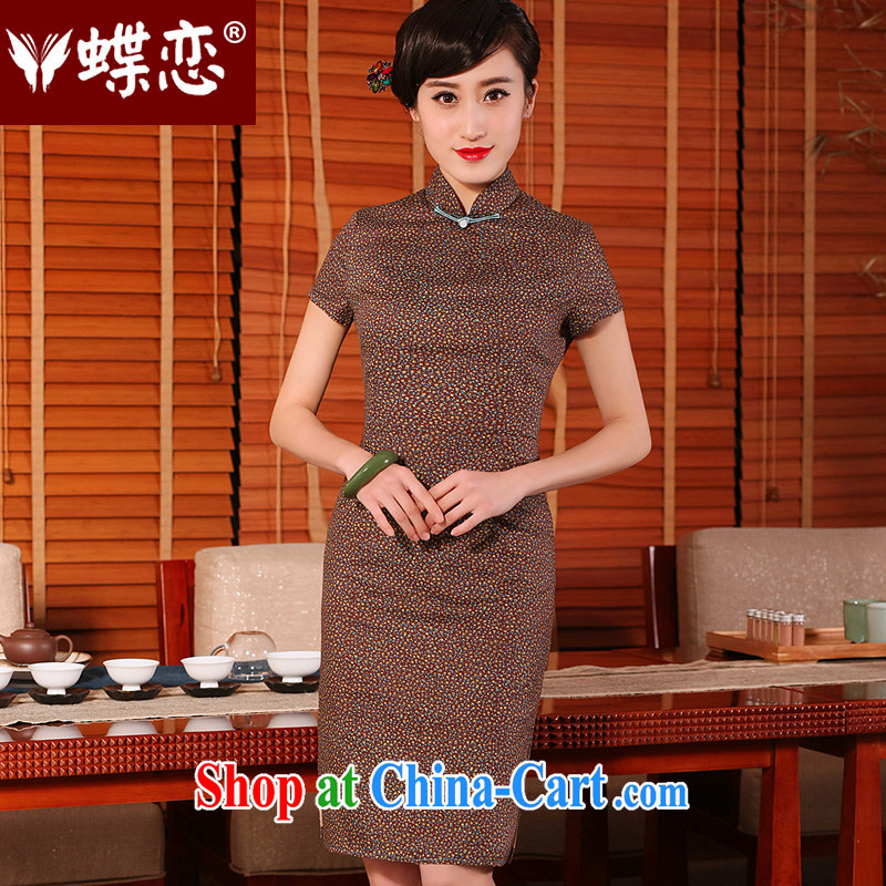 Butterfly Lovers 2015 spring and summer with new stylish and improved cotton the cheongsam dress retro short-sleeved daily cotton cheongsam floral - pre-sale 10 days XXL