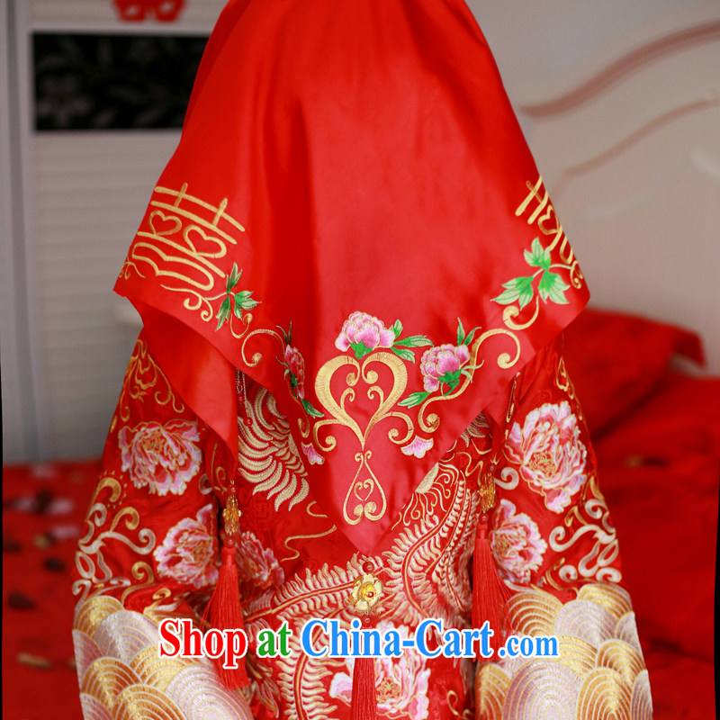 Animated Anne married Yi bride Chinese traditional wedding red lid bridal cover head-cover-hi, scarf, emulation, flow, and red head yarn red, diffuse Connie married Yi, shopping on the Internet