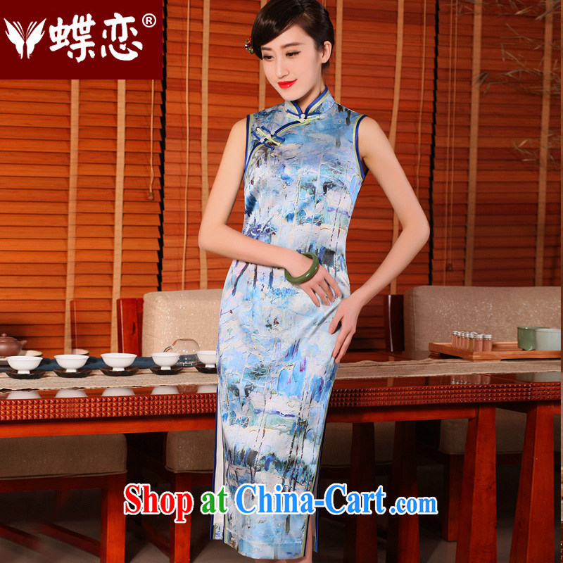 Butterfly Lovers 2015 spring and summer with new, improved and stylish everyday cheongsam dress retro long Silk Cheongsam 54,241 figure XXL