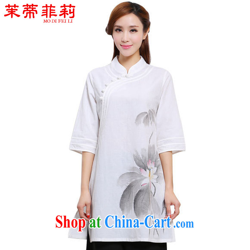 Energy Mr. Philip Li painting China wind stretches the girl T-shirt, long Tang is improved, served white XL