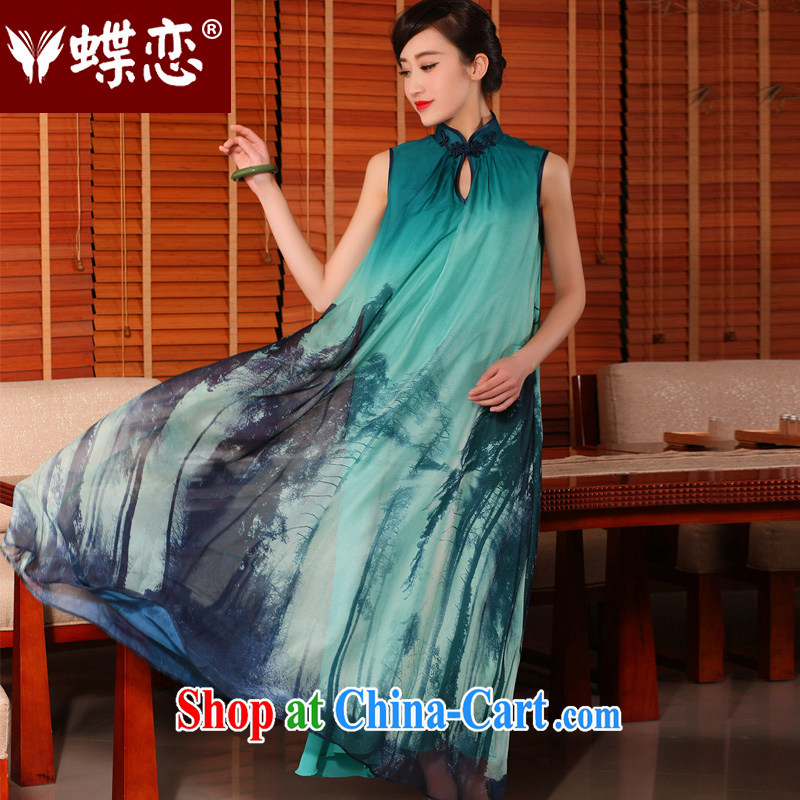 Butterfly Lovers blue T-shirt 2015 summer new improved stylish relaxed waist long, antique dresses dresses blue T-shirt - pre-sale 7 days XL