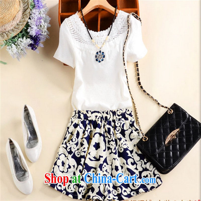 New 2015 summer Korean female round-collar hook flower T-shirt shorts two sets of picture color XL