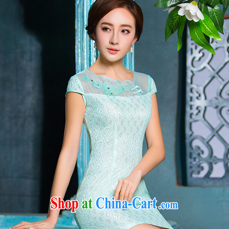 2015 new spring and summer dresses qipao improved stylish beauty cheongsam dress daily short, Retro dresses female Green Green