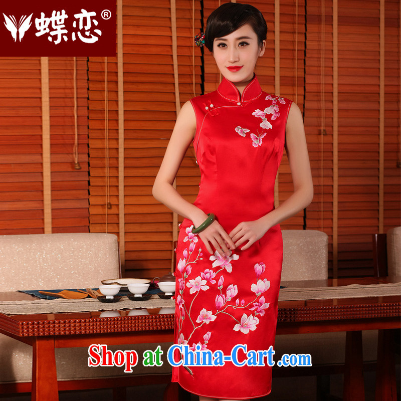Butterfly Lovers 2015 summer new heavy silk manual and embroidery cheongsam dress uniform toasting retro wedding dresses red XXL