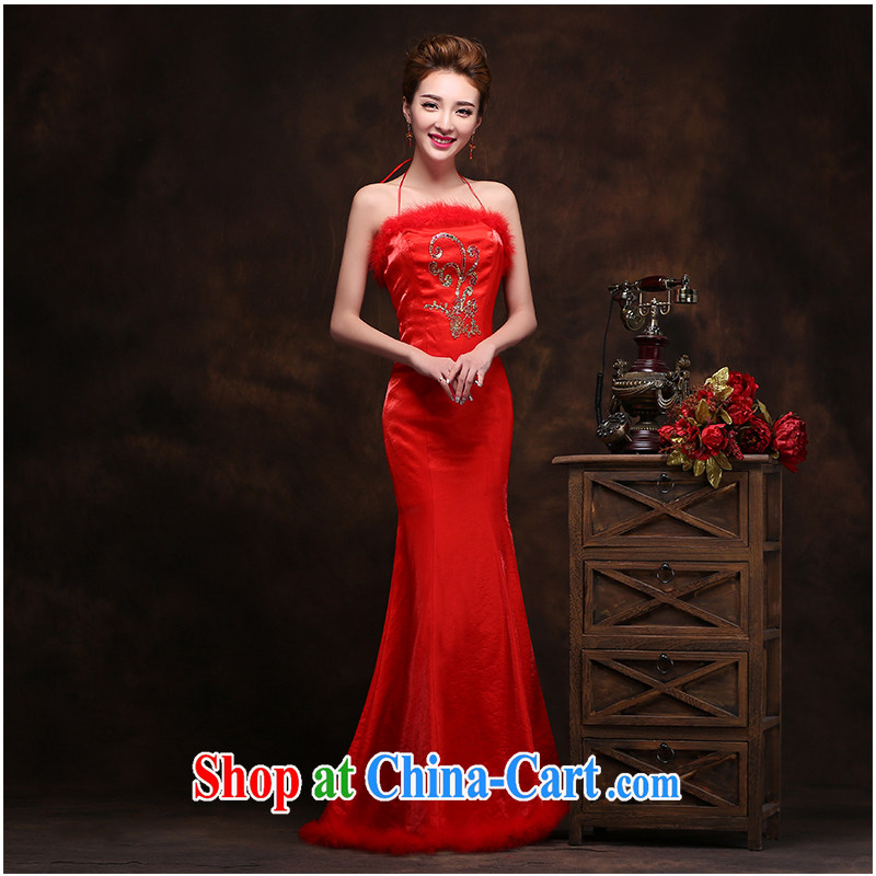 2015 New Red lace stamp duty outfit wiped his chest and Beauty package and elegant antique cheongsam dress graphics thin invisible zipper, beautiful yarn
