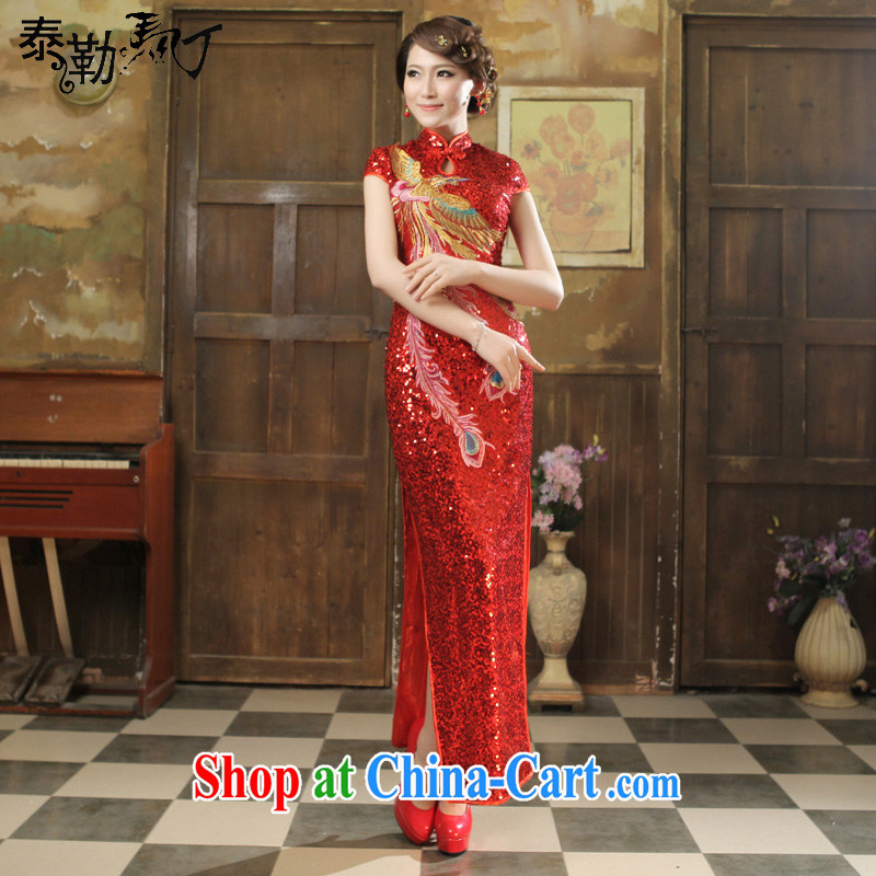 2015 bride's toast clothing spring and summer fashion at Merlion dress beauty graphics thin large code wedding long gown dress red XXL