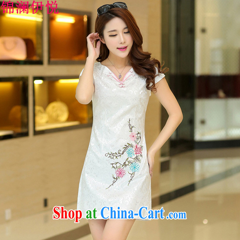 kam world at the 2015 spring and summer new retro improved daily stylish ethnic wind cheongsam dress dress jacquard cotton embroidery short skirt white XL