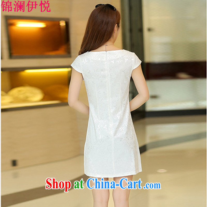 Kam-world the Hyatt 2015 spring and summer new retro improved daily and stylish ethnic wind cheongsam dress dress jacquard cotton embroidery short skirt white XL, Kam-world, Yue, and shopping on the Internet