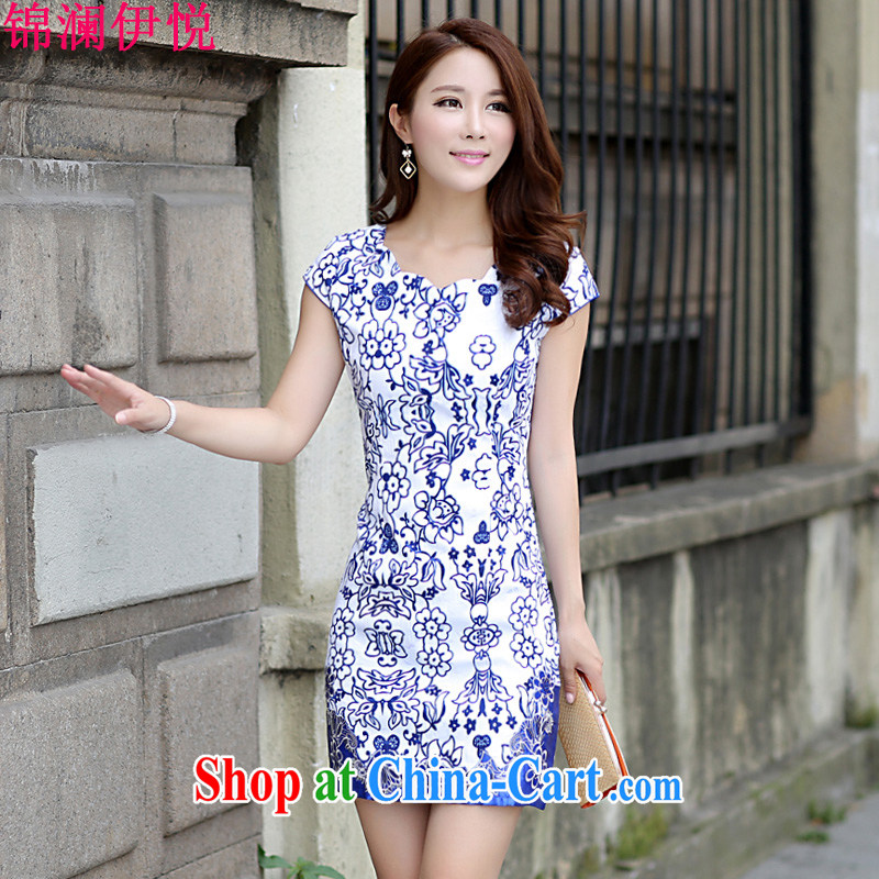 kam world the Hyatt 2015 summer, cultivating women's clothing style large, short-sleeved China wind blue and white porcelain cheongsam dress blue XL