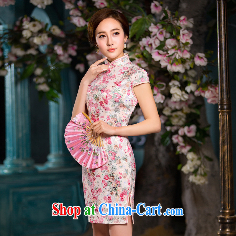 2015 spring and summer new dresses, dresses and Stylish retro improved cheongsam dress daily cultivating short dresses female XXL