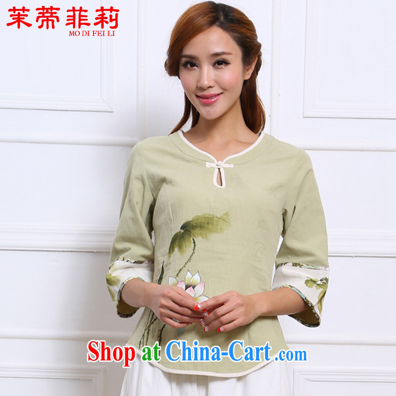 Energy Mr. Philip Li improved Han-female Chinese summer Chinese Ethnic Wind and fresh cotton Ma girl T-shirt green L