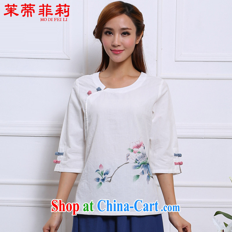Energy Mr. Philip Li 2015 summer new cotton Ma girl T-shirt Chinese retro stamp Chinese White S