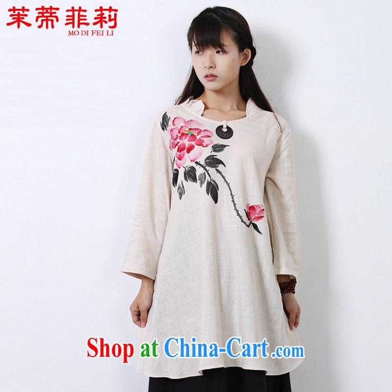 Energy Mr. Philip Li 2015 summer improved Han-female painting Chinese China wind cotton Ma girls T-shirt white L