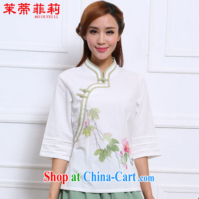 Energy Mr. Philip Li New China wind cotton Ma T-shirt Chinese stamp girls improved Han-white S