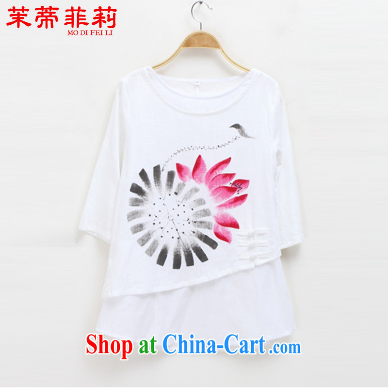 Energy Mr. Philip Li new women with hand-painted stamp duty charge is false two retro Tang with improved Han-T-shirt white L