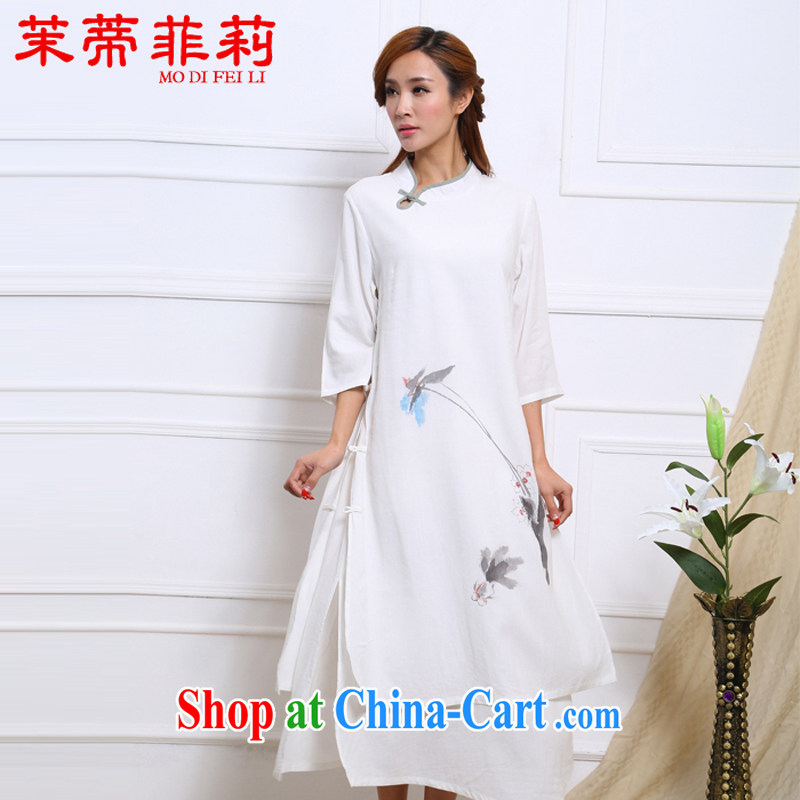 Energy Mr. Philip Li retro cotton Ma girls dresses national hand-painted water ink improved Han-female long skirt white S