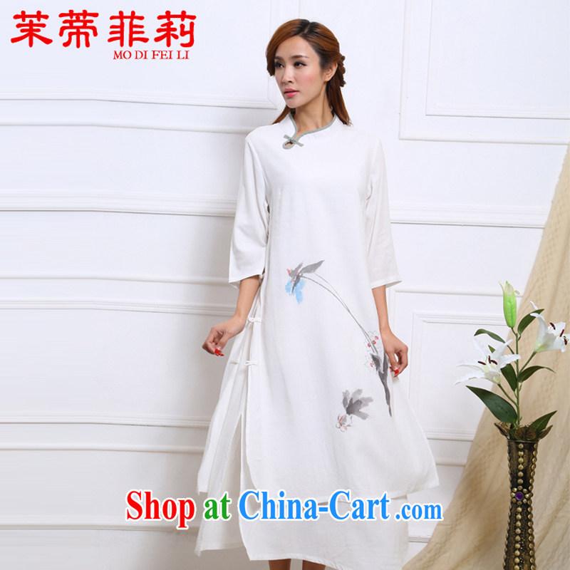 Energy Mr. Philip Li retro cotton Ma girls dresses national hand-painted water ink improved Han-female long skirt white S