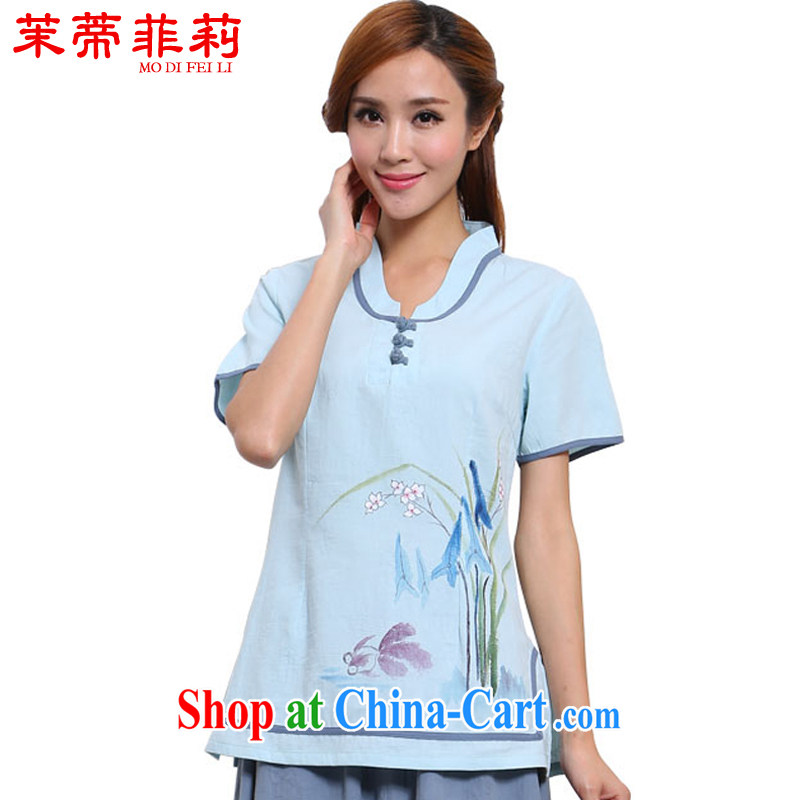 Energy Mr. Philip Li 2015 summer new cotton Ma T-shirt female Chinese Chinese Ethnic Wind improved Han-light blue L