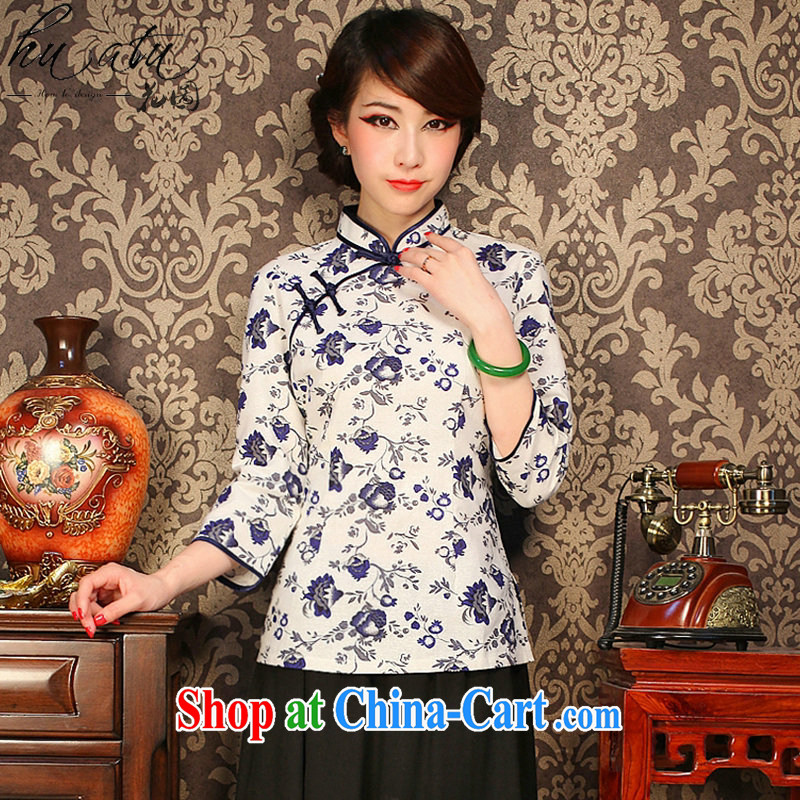 Spend figure, Chinese New retro style of Chinese improved cotton the pomegranate cuff in Chinese T-shirt such as the color 2 XL