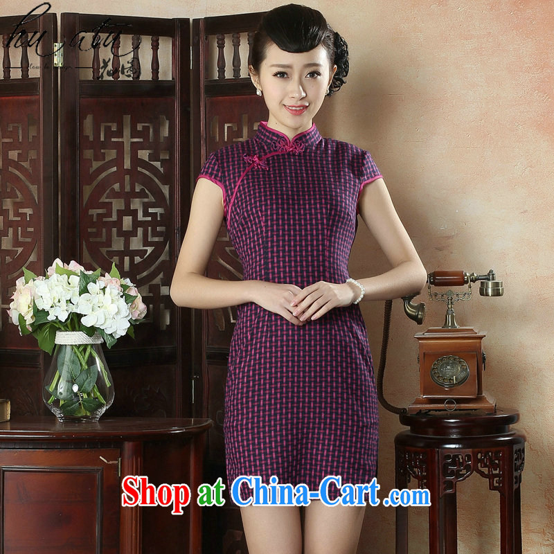 spend the summer new, qipao Chinese improved, for a grid of Korea wind elegant daily short cheongsam dress such as Map Color 2 XL