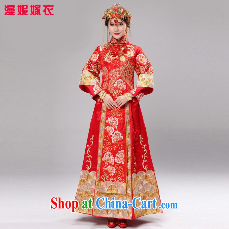 man she married Yi 2015 new high-end show reel service use phoenix embroidery married Yi bridal dresses Chinese wedding dress costumes toast clothing gold and silver thread and skirt red XXXL