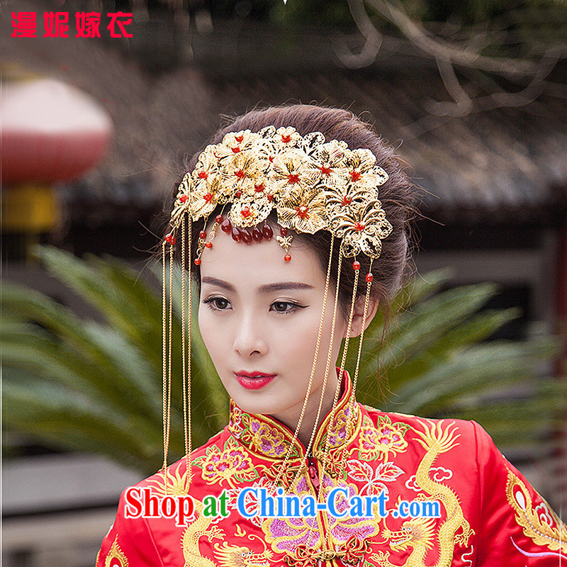 man she married Yi bridal jewelry costumes Bong-crown-su Wo kimono robes and ornaments Chinese national class comb Hair accessories the Kanzashi retro-decorated classic red and take flow, with gold ornaments
