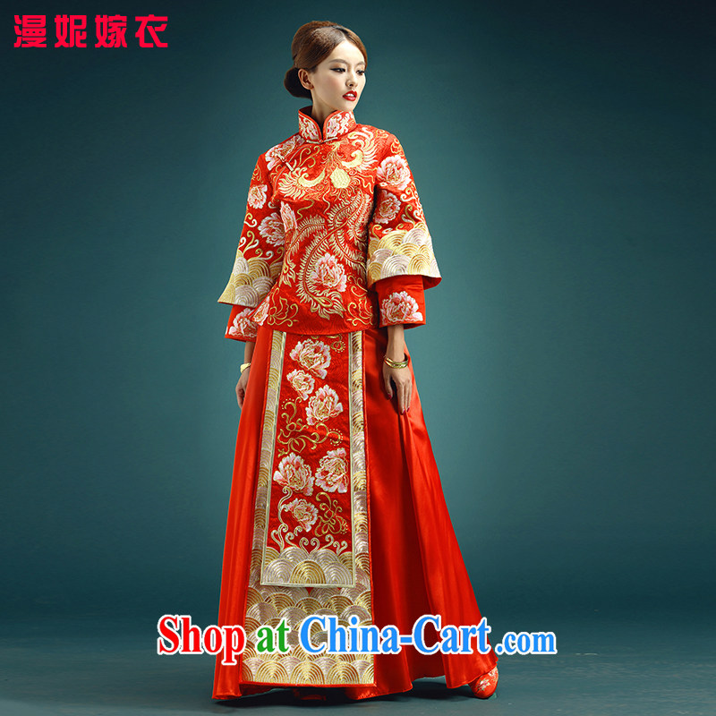 man she married Yi 2015 new show reel service use phoenix as Su-kimono classic married Yi Chinese wedding dresses retro bridal toast clothing classical Chinese red XXXL