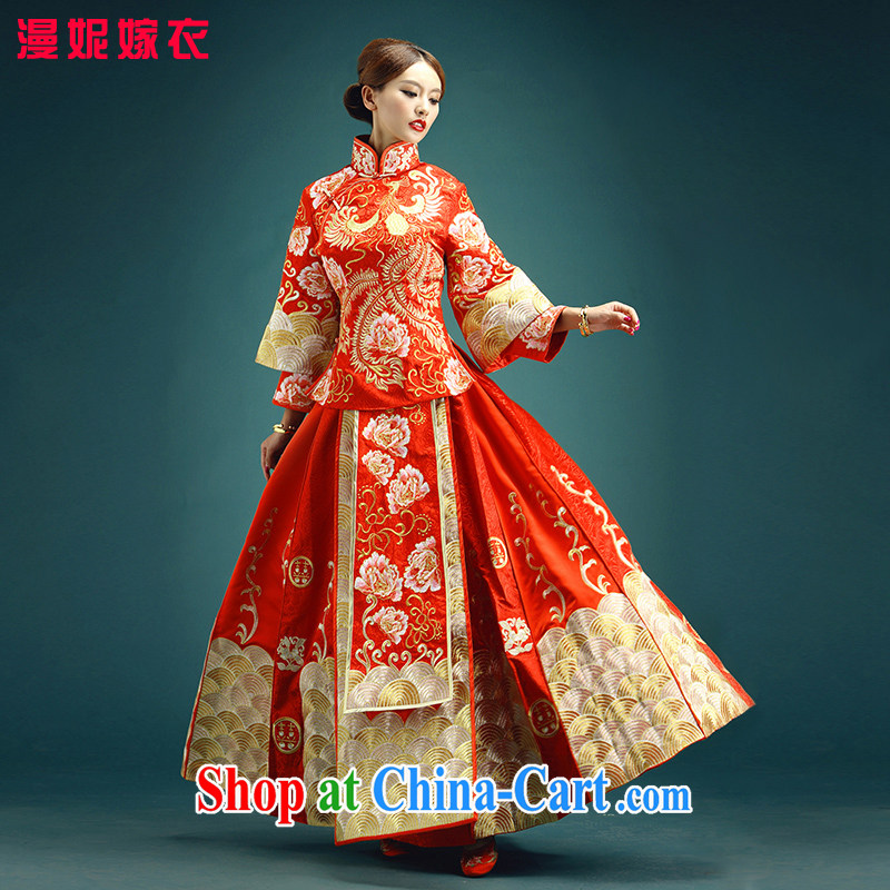 man she married clothing high-end custom new, antique Chinese wedding dress summer red-su wo service dragon costume dramas of marriage-service Service Bridal wedding toast wedding red XXXL