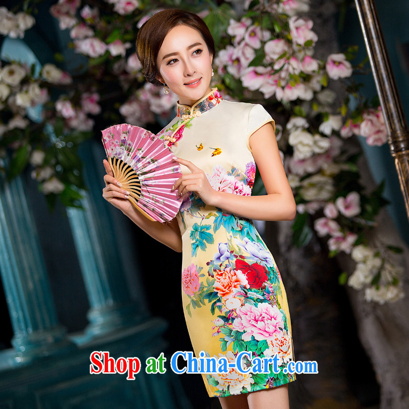 Dresses 2015 spring and summer new daily fashion improved short retro dresses beauty dress cheongsam dress female yellow getting cuter