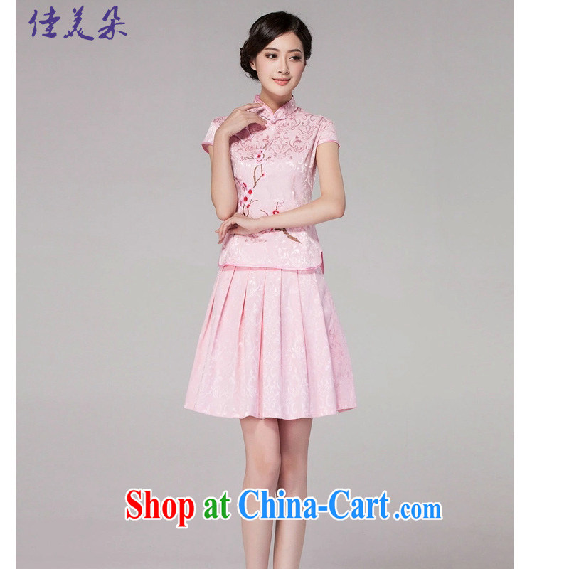 Good 2015 Flower Spring and Summer new female Chinese qipao day dresses high-end retro style two-part kit 1125 #pink XL