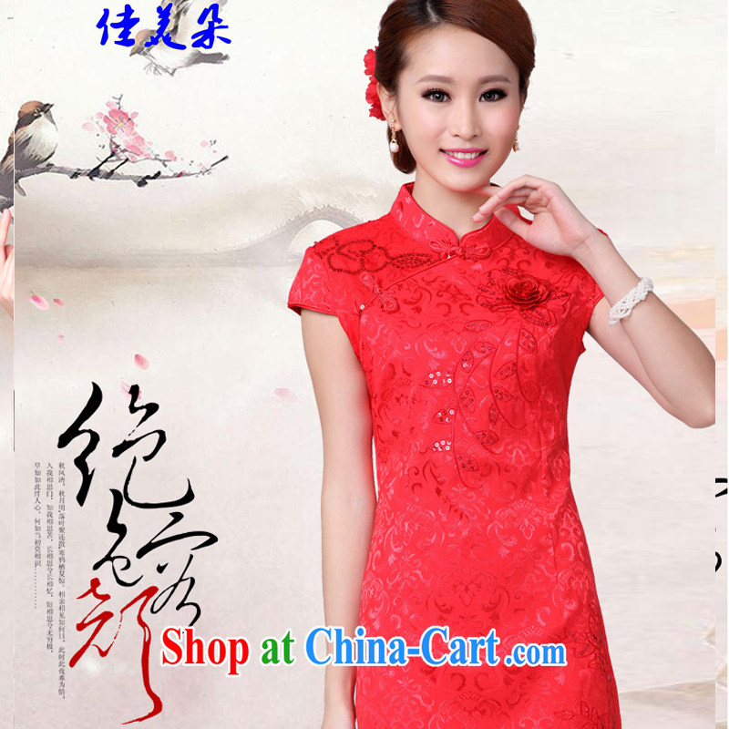 Good flower 2015 wedding dresses serving toast new summer red wedding dress high collar cheongsam dress 6601 _red XL