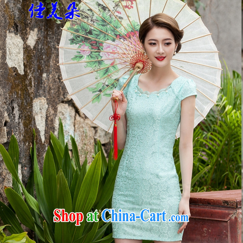 Better the US Flower Spring 2015 summer new, lace dresses and stylish beauty dress Openwork hook spent 1106 #Lake blue XL