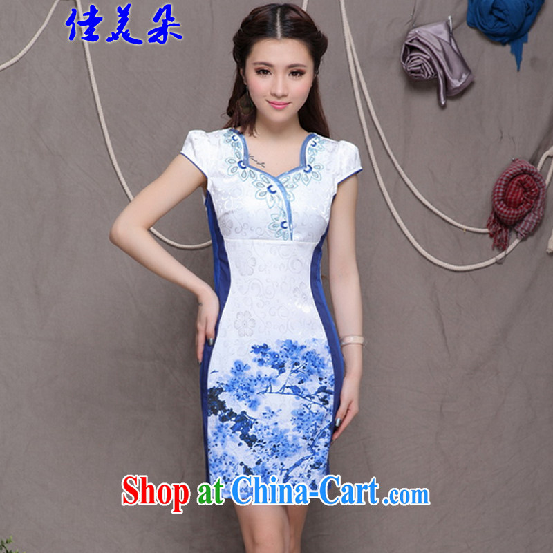Good 2015 flower embroidery cheongsam high-end Ethnic Wind stylish Chinese qipao dress daily retro beauty graphics build outfit #9906 blue XL