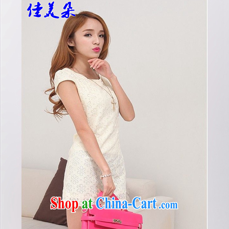 Good flower 2015 spring new improved Stylish retro short cheongsam dress lace 1096 #apricot XL